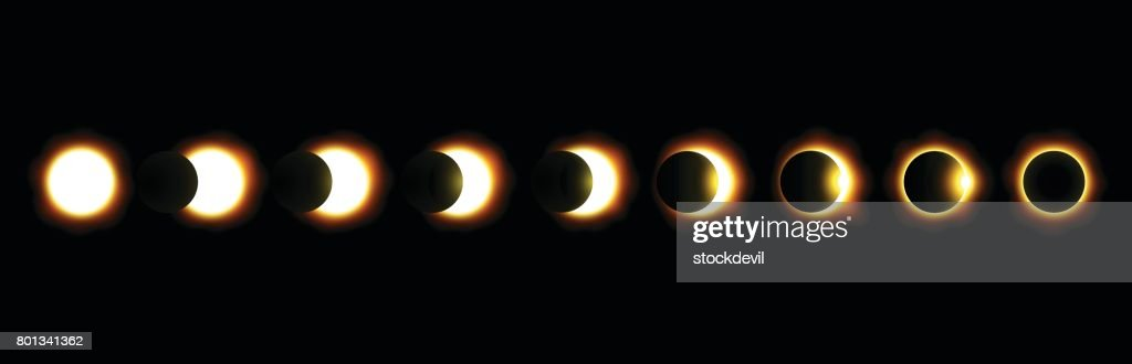 Different phases of solar and lunar eclipse . Vector .