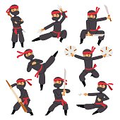 Different poses of ninja fighter in black cloth character warrior sword martial weapon japanese man and karate cartoon person action mask kick vector