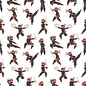 Different poses of ninja fighter in black cloth character warrior sword martial weapon japanese man and karate cartoon person seamless pattern vector