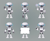 Different Poses Robot innovation technology science fiction future cute little 3d Icons set design vector illustration