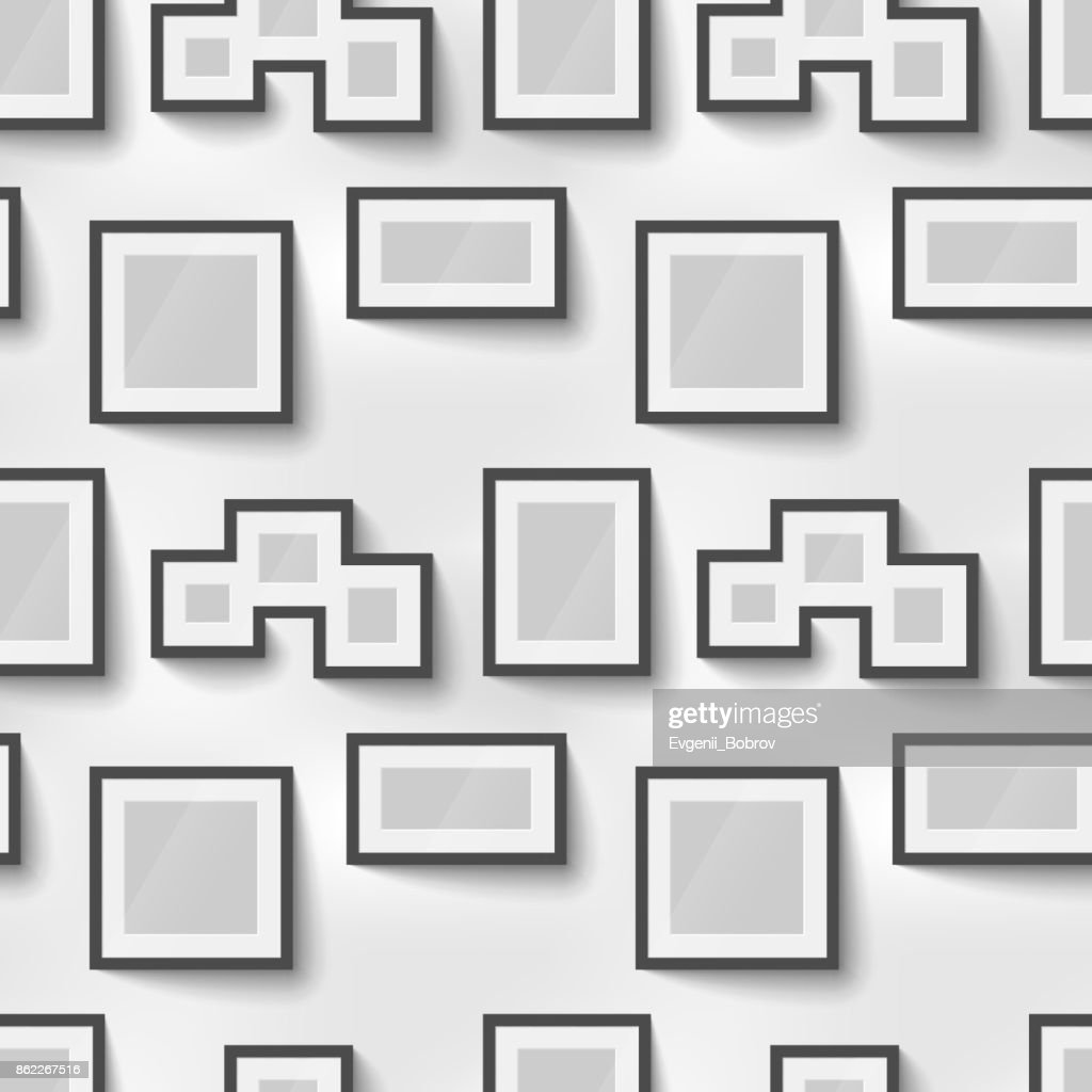Different proportions black blank picture frames for photo on wall, seamless pattern