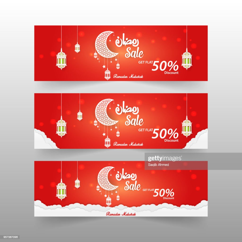 3 different Ramadan Sale Banner 50% discount offer template vector design