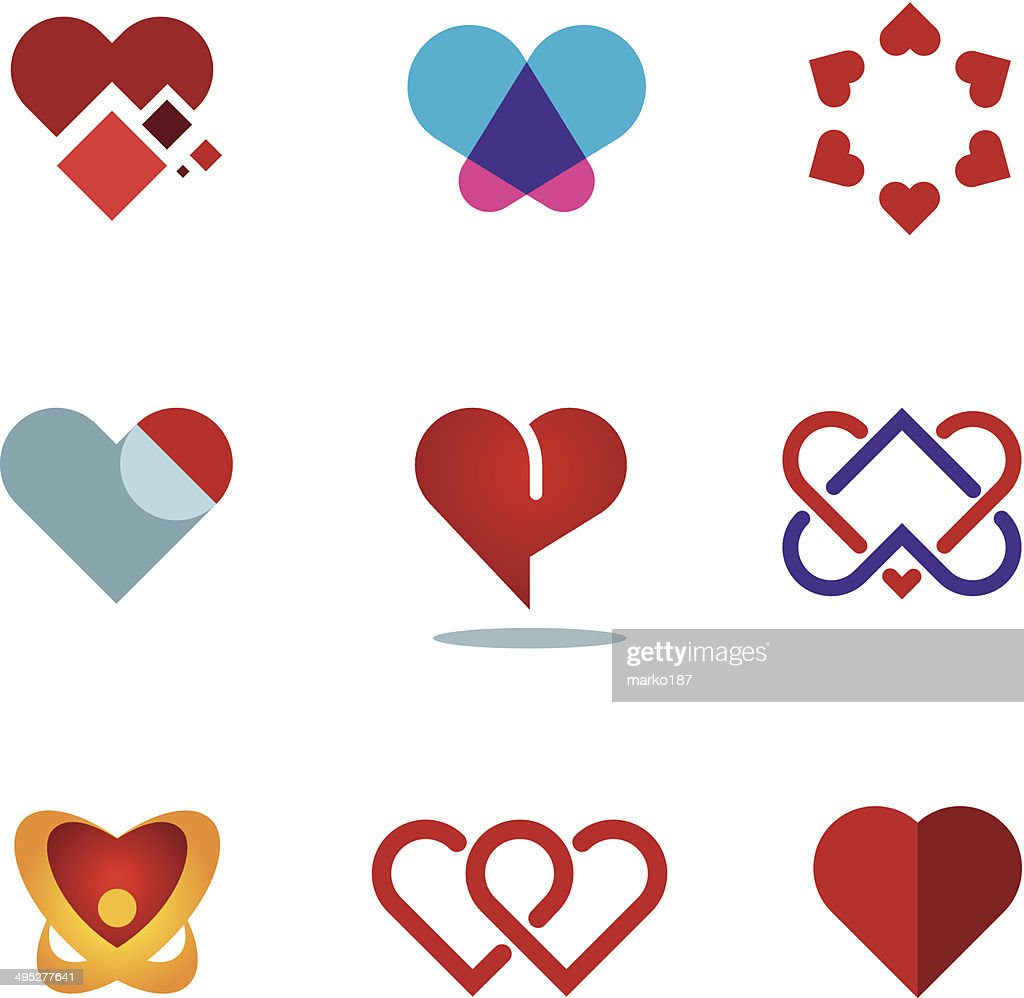 Different red heart shapes woman love symbol flower logo icon