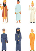 Different religion leaders. Cartoon characters isolate on white