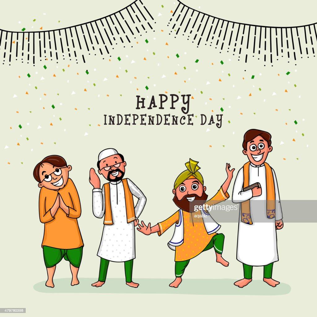 Different religion men celebrating Indian Independence Day.