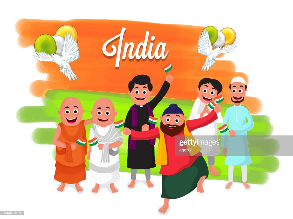Different Religion People for Indian Independence Day.