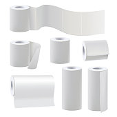Different rolls of blank toilet papers. Vector illustration set