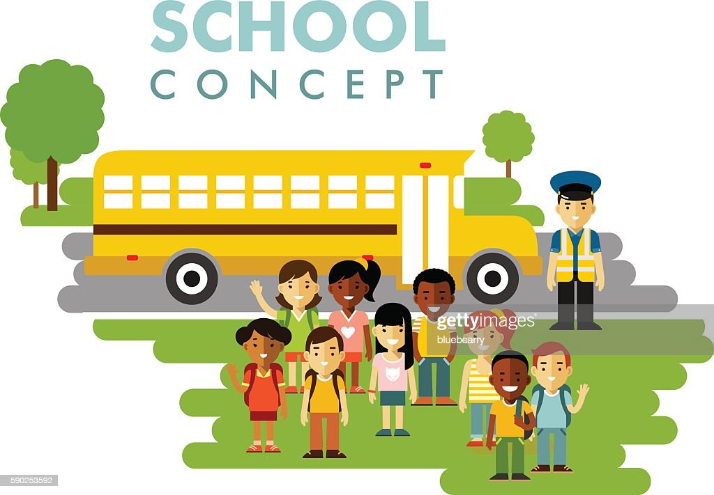 Different school children and bus concept in flat style
