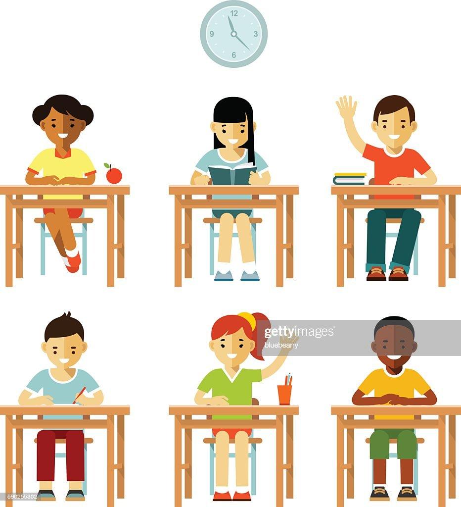 Different school children class set in flat style
