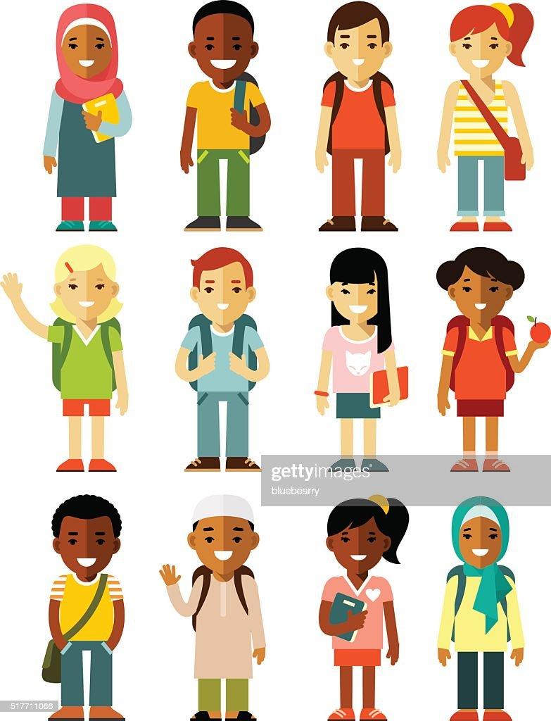 Different school children stand set in flat style