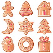 Different shaped Christmas cookies