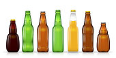 Different shapes and sizes of beer bottles vector