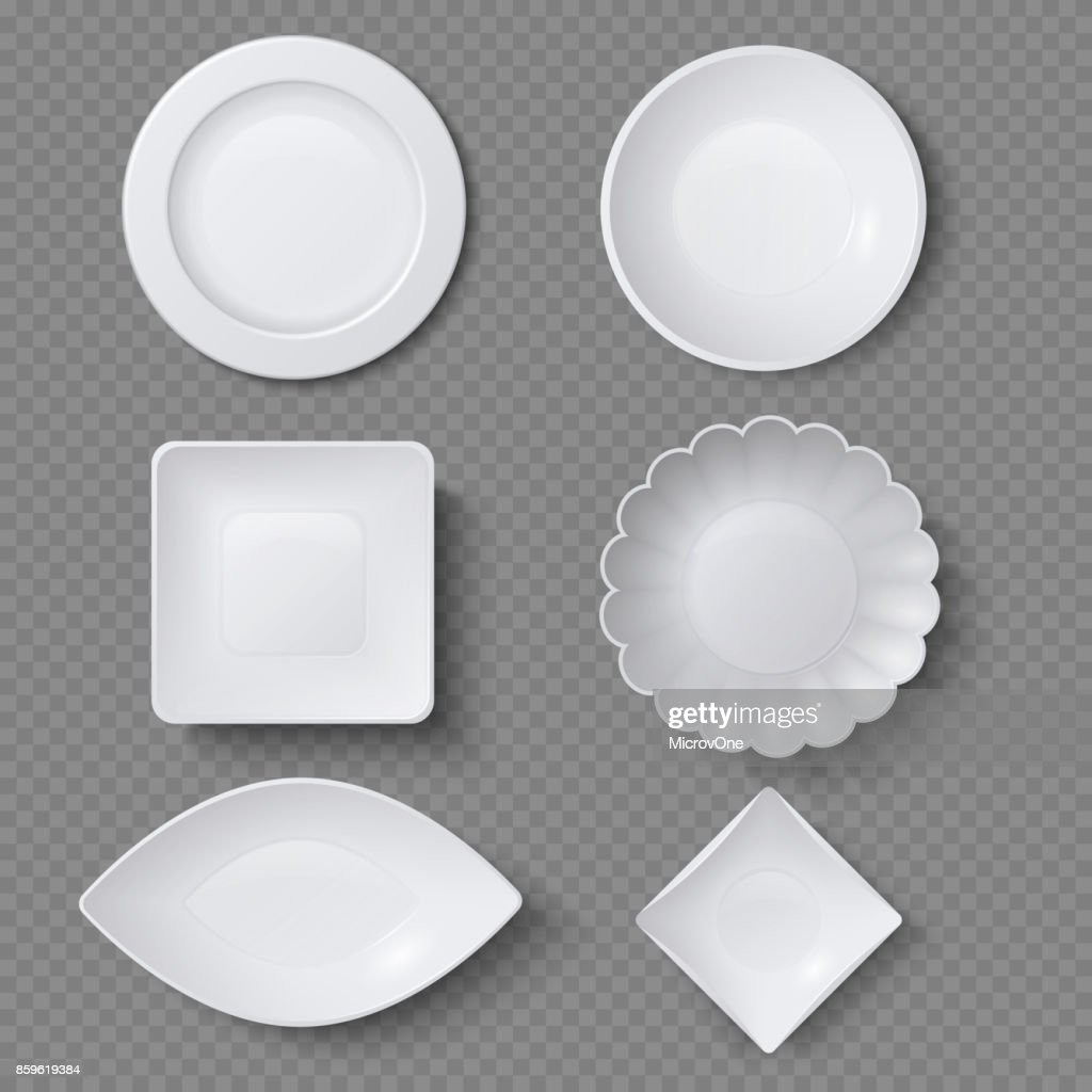 Different shapes of realistic food plates, dishes and bowls vector set