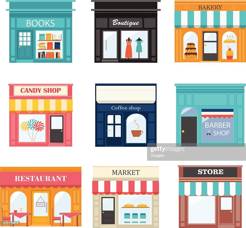 Different shops and stores icons set.