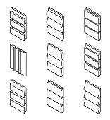 Different Siding Profiles in Isometric View and Outline Style