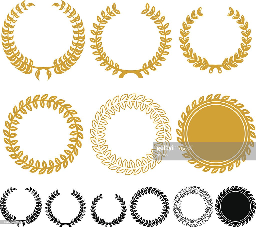 Different size and color laurel wreaths