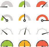 Different slyles of speedometers vector collection. Flat design elements