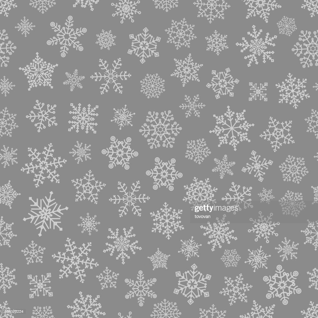 Different snowflake elements seamless pattern