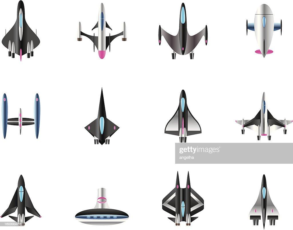 Different spaceships in flight