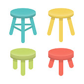 Different stool with three legs vector set.