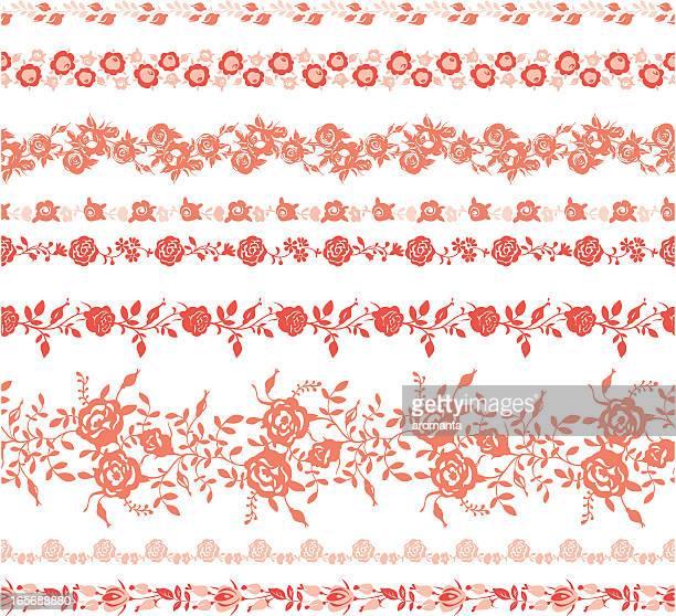 stockillustraties, clipart, cartoons en iconen met different stripes with roses - kant