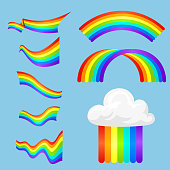 Different style rainbow color strips after rain optical sky effect vector set