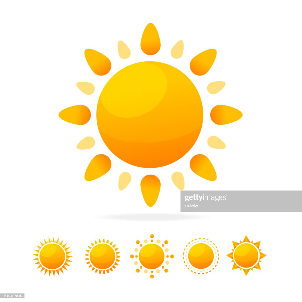 Different Sun Icon Set. Vector