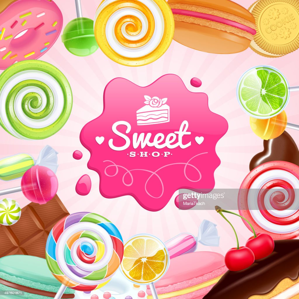 Different sweets colorful background.