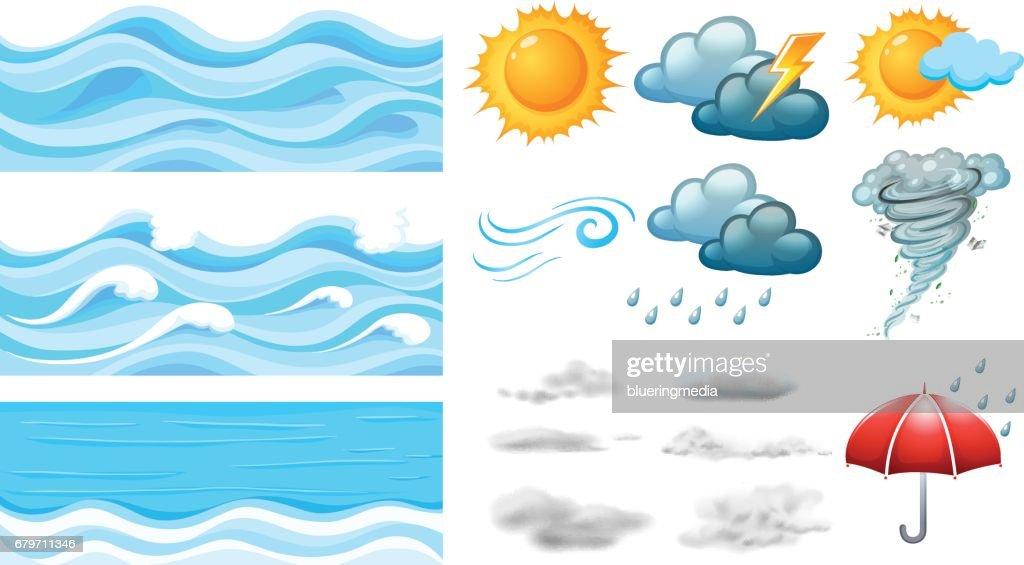 Different symbols of weather