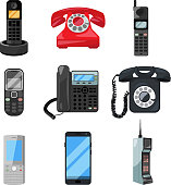Different telephones and smartphones. Vector illustrations in cartoon style