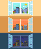 Different Times of Day Set Concept Card Poster. Vector
