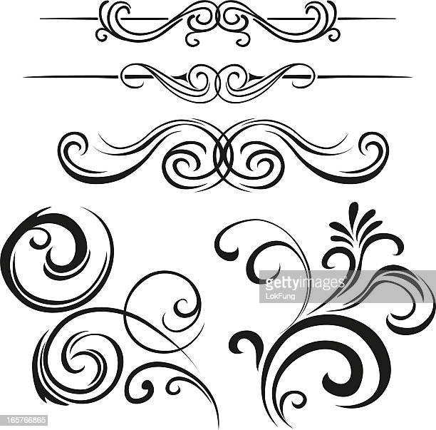 different traditional scroll styles in black - figurine stock illustrations, clip art, cartoons, & icons