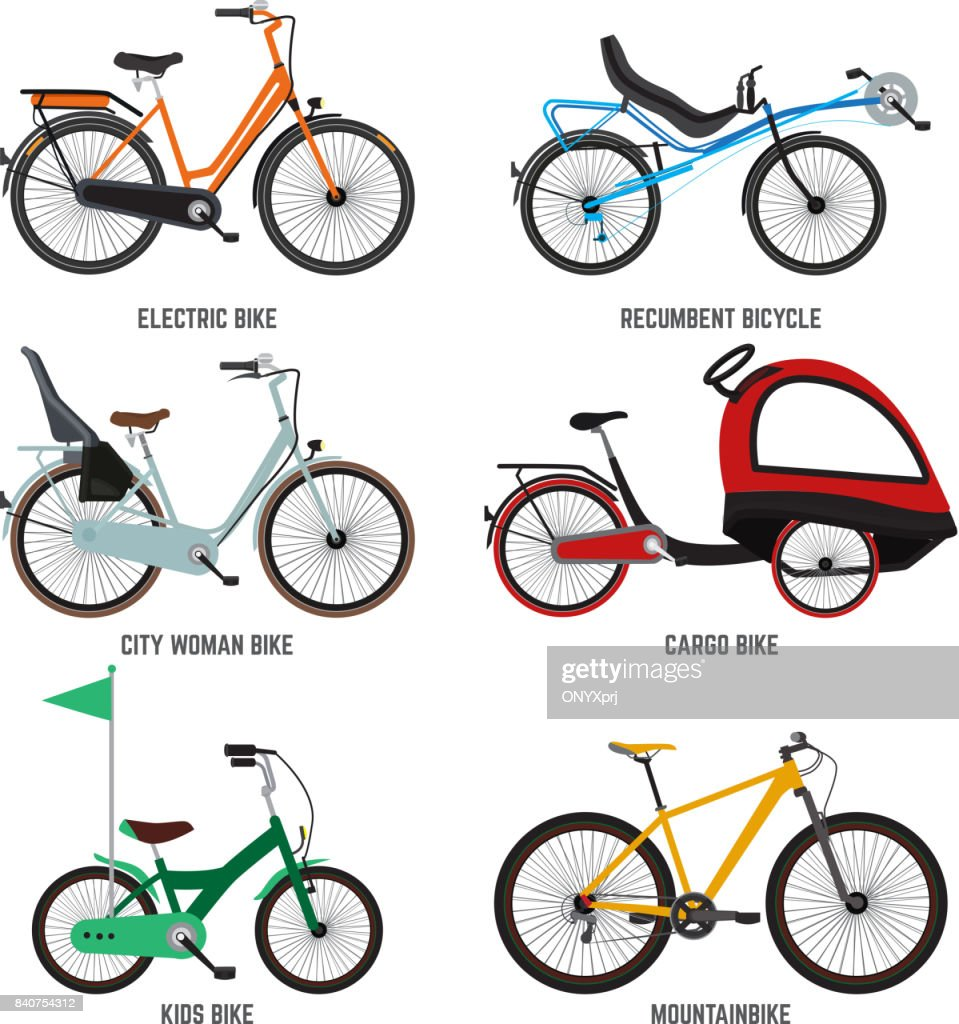 Different type of bicycles for male female and kids. Bikes for family. Vector illustrations isolate on white