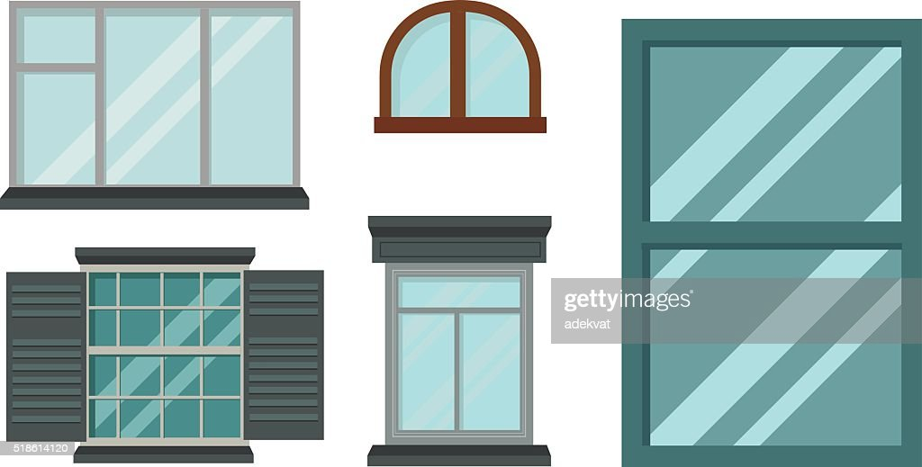 Different types house windows vector elements isolated on white background