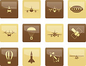 Different types of Aircraft Illustrations and icons over brown background