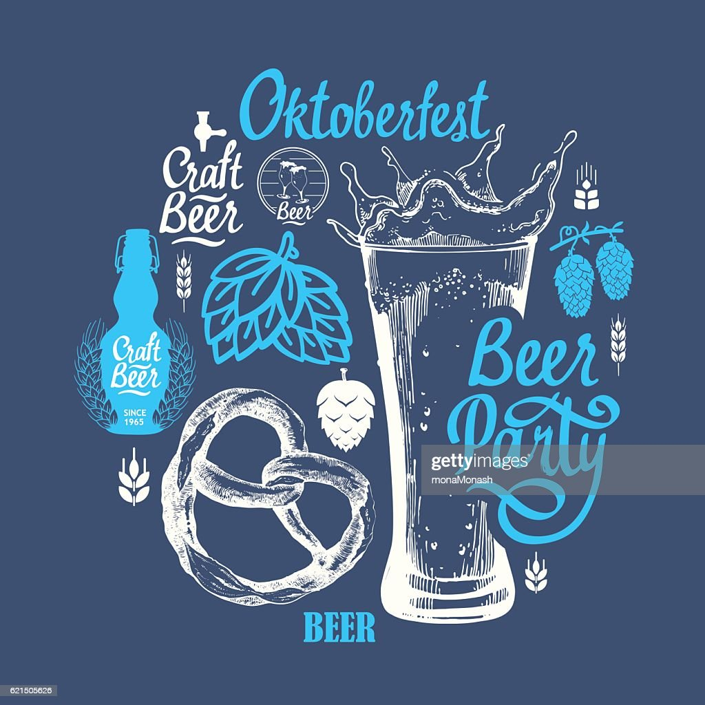 Different types of beer, cider and snack in sketch style