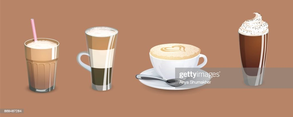 Different types of coffee. Coffee menu. Set of vector illustrations.