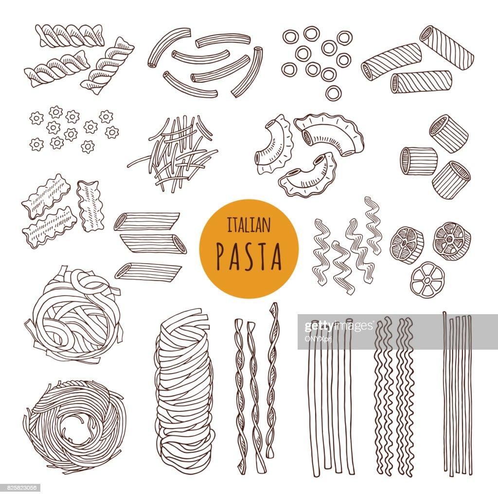 Different types of italian pasta. Hand draw vector illustrations
