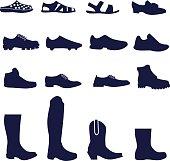 Different types of men's footwear