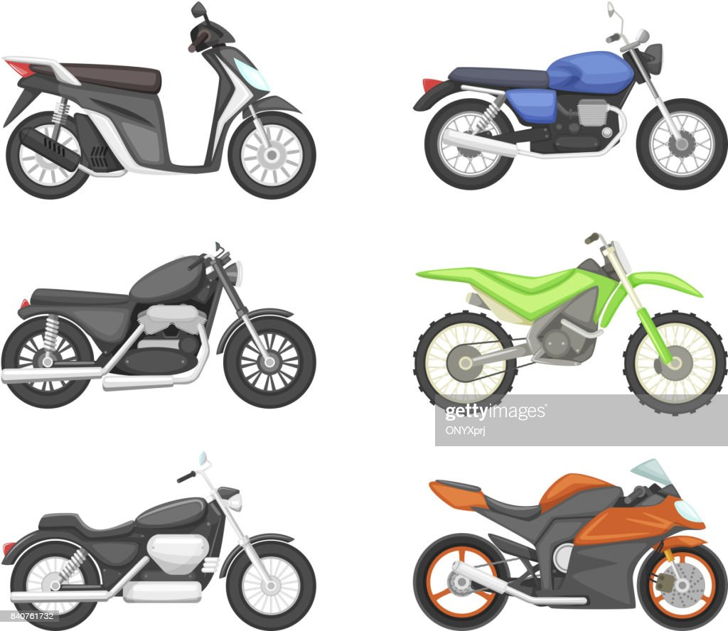 Different types of motorcycles. Vector set illustrations in cartoon style
