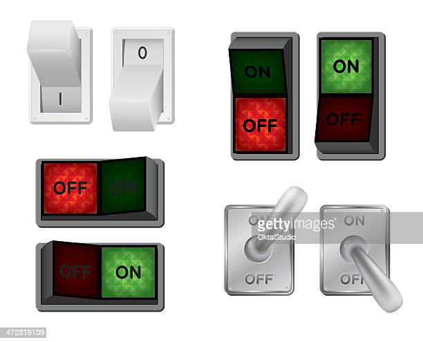 different types of switches illustrated - start button stock illustrations, clip art, cartoons, & icons
