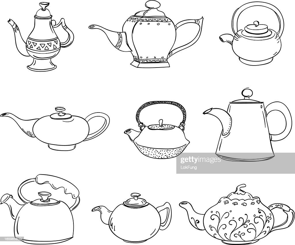 Different types of teapots : stock illustration