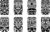 Different types of tiki masks in black