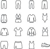 Different types of woman's sport clothes