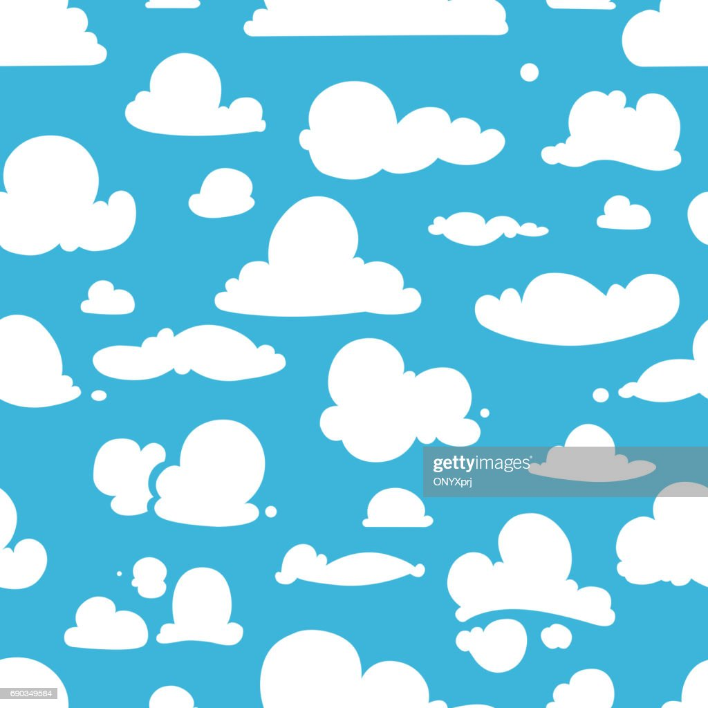Different vector clouds on blue sky. Seamless pattern in cartoon style