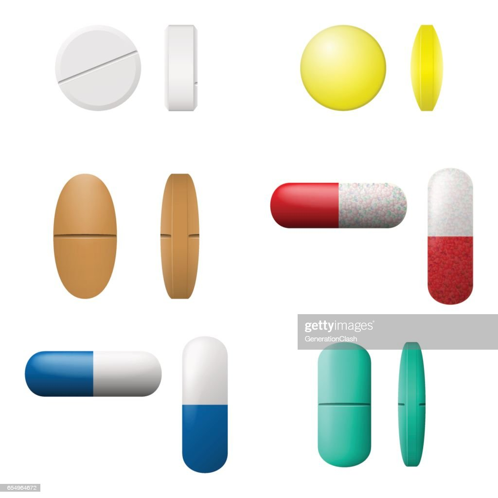 Different vector pills and capsules set. Pharmacy drugs icons isolated on a white background. Medicament symbols.