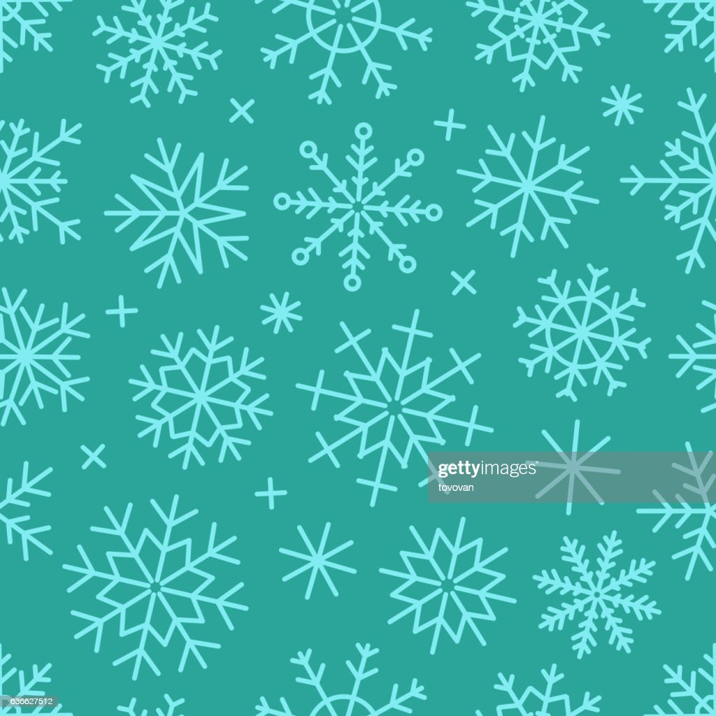 Different vector snowflakes seamless background. Vector ice crystals