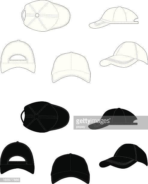 Different views of a white and black baseball cap