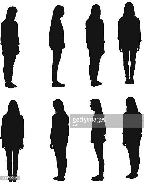 different views of casual woman - full length stock illustrations, clip art, cartoons, & icons