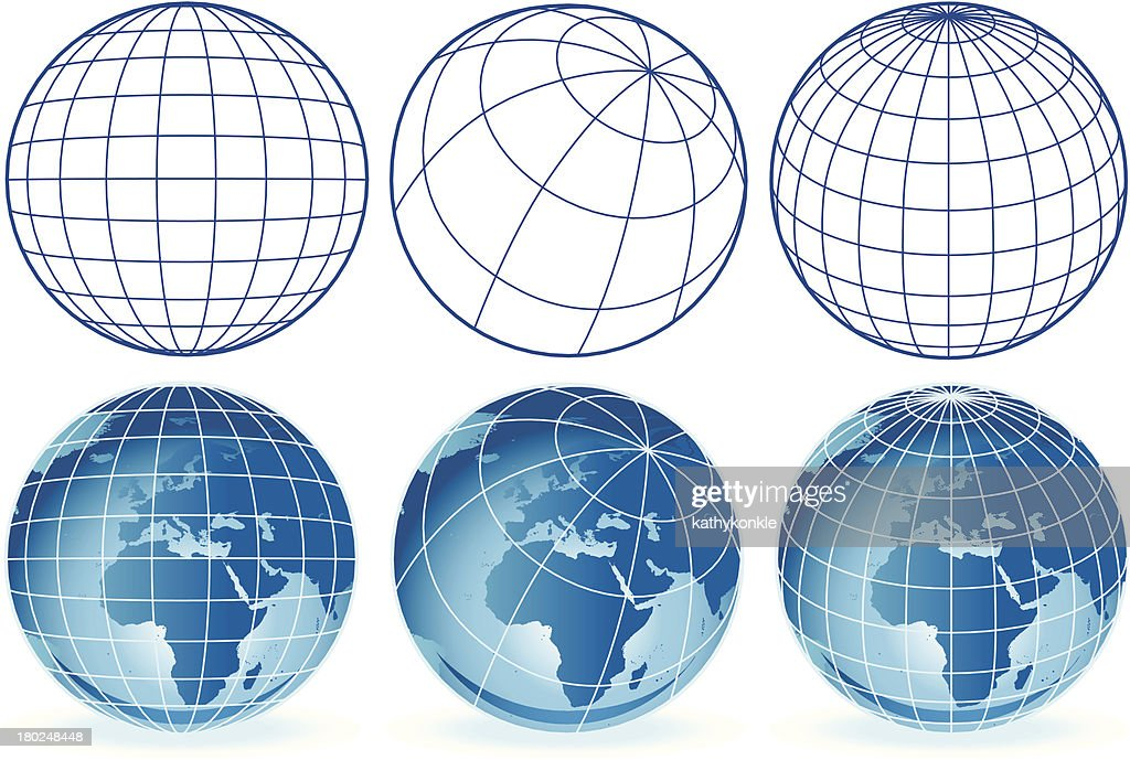 different wireframe globes Europe and Africa : stock illustration